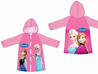 Wholesale Hot Sale New Children Rain Cape Cartoon Pattern Frozen Elsa Anna Design Kids Childs Raincoat PVC Hooded Child Rain Coat yards L0237C