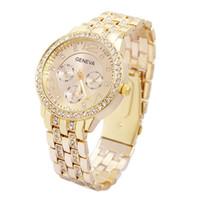 Wholesale HOT Geneva Stainless Steel Watch Fashion Metal Quartz wrist watches for Men Women Unisex luxury watches Geneva Crystal Watches Gold watches