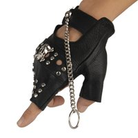 gants en cuir frais sans doigts hommes achat en gros de-Gants Top Quality Hommes Punk gros-gros peau de mouton en cuir Mitaines jazz rock alliage Skeleton Hip-Hop chaîne mitaines cool