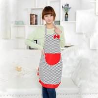 Wholesale Cute Dots Pattern Pocket Restaurant Home Kitchen Bib Apron Dress Cooking Apron Free DropShipping