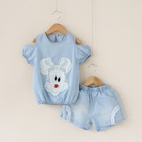 Summer mickey - girl denim mickey set summer child Dew shoulder T shirt lace shorts Mickey patch cute clothing set
