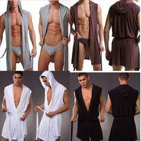 Wholesale Fashion men casual sexy fitness slik bathrobe sleeveless robe underwear sex Lungewear series colour S M L