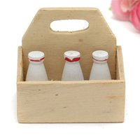 Wholesale 2015 New Arrival Miniature Dollhouse Milk Wooden Case Kitchen Accessory Children Toy Gift x3 x2 cm