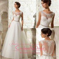 rhinestone applique - Elegant Jewel Neck A Line Wedding Dresses Sheer Neck Lace Appliques Crystals Rhinestone Sash Backless Dress Bridal Gowns BB091