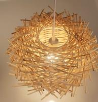rattan - Modern Hand Made pure rattan wooden Stick Bird Nest pendant lamp suspension light home lighting