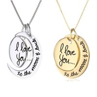 Wholesale Fashion I Love You To The Moon and Back Silver Gold Pendant Necklace Valentine s Day Gift Chain MM inch