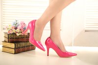 Cheap Cheap Shiny Dress Shoes Fuchsia Girl's High Heel Leather Shoes Lady Prom Shoes DY33049