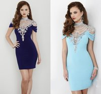 art deco gifts - Luxury Crystal Neck Women Dress Adult Sleeve Slim Charm Fashion Style Women Gift Beaded Short Prom Party Cocktail Noble