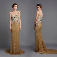 al dress - Sparkly Sequined Evening Dresses Hamda Al Fahim Sheer Jewel Neck Floral Appliqued Prom Gowns Sweep Train Keyhole Back Evening Dress