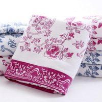 Wholesale Promotion Sale Ceramics Printed Cotton Super Absorbent Face Towels for Adults Soft Washcloths Blue Purple Two Colors JQ0019 smileseller