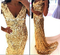 Cheap Bling Bling V Neck Backless Gold Sheath Unique Sequined Elie Saab 2014 Long Prom Dresses Gown Court Train Party Gown Elegant Evening Dress