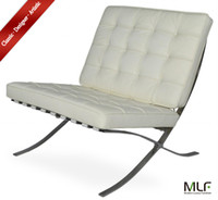 barcelona leather chair - MLF Barcelona Chair Aniline Leather High Density Foam Cushions Polished Stainless Steel Frame Riveted with Cowhide Saddle Straps