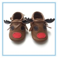 Wholesale soft sole shoes new design reindeer baby moccasin
