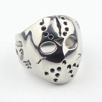 Celtic african masks - Halloween Jason Mask Hockey L Stainless Steel Mens Biker Ring