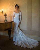 Cheap Hot 2015 Vintage Lace Berta Wedding Dresses V Neck Beaded Off-shoulder Backless Court Train Bridal Dress Mermaid Long Sleeves Wedding Gown
