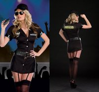 Wholesale 2016 Sexy Black Female Police Role Play Dress Customs Police Uniform Sexy Cosplay