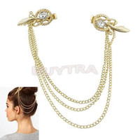 Wholesale Tone Crystal Feather Hair Brooch Clip Pin Cuff Chain Head Band Jewelry Headpiece