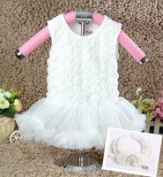 Wholesale 10 OFF new arrival summer Baby Girls princess Dress White Rosette Baby Girl Dress dress Headbands children clothing