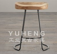Wholesale New Creative tall iron concave wood bar stool bar chairs chair chairs minimalist fashion hot
