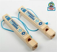Wholesale 30pcs new arrive Wooden Train Whistle Kids Pretend Play Children Percussion Music Tomas D123