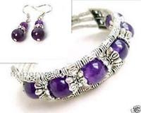 Wholesale Beautiful Fashion Jewelry Tibet Silver Amethyst Bracelet woman Earrings set