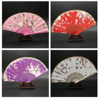 lace hand fan - Chinese Silk Lace Folding Hand Fans Wedding Dancing Party Decoration Flower Summer Fan Bridal Accessories Craft