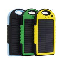 Novo Universal Carregador Solar do Banco do Poder de 5000mAh impermeável de Bateria Solar Portátil Carregador Externo para Bateria de telefone celular carregador solar DHL livre