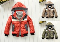 badge jacket - 2015 retail New Fashion Kids Boys Winter Warm Badge Coat Hooded Zipper cool Jacket Outerwear Y