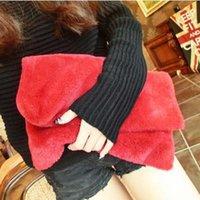 Wholesale Faux Fur Day Clutches Shoulder Bags Handbags Women Famous Brands Solid Medium Cover Versatile Black Red Pink Female Handbags