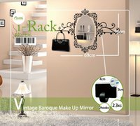 baroque wall mirror - Funlife x98cm x38in Vintage Baroque Rack Style With Oval Bathroom Girl Room Make Up Mirror Sticker Free Hooks BD1196