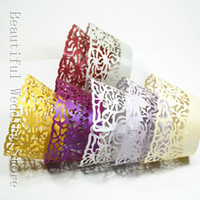 Wholesale 192pcs White Damask Filigree Laser Cut Pearl Paper Cupcake Wrappers Lace Cupcake Liners Soap Decorating Tool
