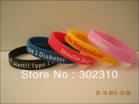 Cheap Wholesale-Type 1 Diabetes Insulin Dependent Medical Alert Silicone Wristbands, Debossed Silicon Bracelet, 100pcs lot, Free Shipping