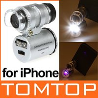 Wholesale 60X Mini Microscope Magnifier Jewelers Loupe for iPhone S with LED Light Drop Shipping