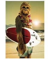 best surfboard - Best Selling x75CM Wall decals Art Poster Chewbacca with Surfboard Print Poster