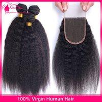 yaki weave hair - Stock Mongolian Kinky Straight Hair Weft With Lace Closure Virgin Italian Coarse Yaki Human Hair Weave With Closure DHL Free