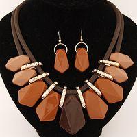 american match - Hot Sale European Fashion All Match Chain Choker Resin Stone Geometric Jewelry Set Women Necklace Earrings Set