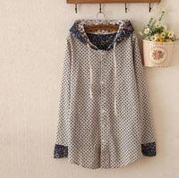 Cheap 2015 New Mori Girl Spring Coat Japanese Polka Dot Print Thin Hooded Sweatshirt Cotton simple Sportswear Cardigans Long Hoodies