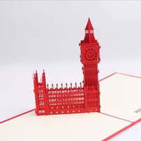 architecture business - D3477 high quality fine paper sculpture creative architecture Big Ben d stereo greeting card business
