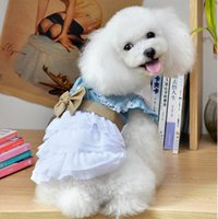 Wholesale Drop shipping Pet Apparel dog clothing shitr blue Pet dresses shirt Dog Supplies bowknot summer dogs shirt dress cute dress ZQ