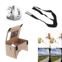 Wholesale Google Cardboard Virtual Reality VR Mobile Phone D Viewing Glasses for Screen Adjustable Head Mout Strap Belt V806 V841