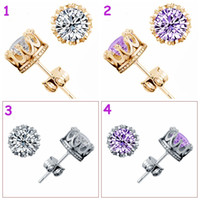 Wholesale Lady Fashion Crystal Ear Clip Men girl party shiny Earing Sterling Silver Plating White GOLD Crown Wedding Stud Earring colors