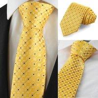 Wholesale New Graphic Golden Yellow Men Tie Suit Necktie Wedding Party Holiday Gift KT1035