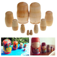 wooden doll - 5pcs set Unpainted DIY Blank Wooden Embryos Russian Nesting Dolls Matryoshka Toy