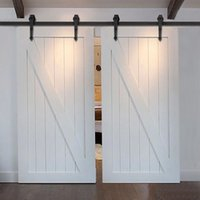 antique wooden arrows - 7 FT Arrow Stylish Antique Black Wooden Double Sliding Barn Closet Door Heavy Duty Modern Wood Hardware Interior American Style Track Kit