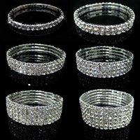 Wholesale Fashion row Shiny Rhinestone Bracelet Bangle Elastic Crystal Lady Party Prom Wedding Bride Jewelry Stretch Bracelet Various Choose