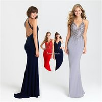 Cheap 2016 Spring Style Evening Party Dresses Sexy Backless Beaded Halter Neckline Long Mermaid Celebrity Wear Clothing Set Formal Occasion Dress