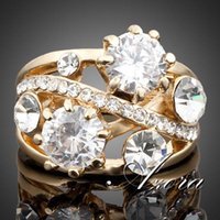 Wholesale AZORA K Real Gold Plated Gorgeous Transparent Stellux Austrian Crystal Ring TR0005