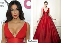 Cheap Real Simple Sexy Kim Kardashian Red V-Neck Spaghetti Strap A-Line Prom Dress Celebrity Dresses New Fashion