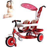 adjustable tricycle - Hot Sales Fashion Tricycle Baby Stroller Patchwork Multifunction Shading Safe Adjustable Double Seats Twins Bicycle JN0039 salebags