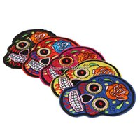 Wholesale Flowered Skulls Skeleton psychedelic Head Embroidered Iron Sew On Patch Goth Punk Rockabilly Applique Label Badge cmx10 cm